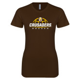 Next Level Ladies SoftStyle Junior Fitted Dark Chocolate Tee-Stacked Soccer Design