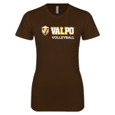 Next Level Ladies SoftStyle Junior Fitted Dark Chocolate Tee-Volleyball