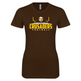 Next Level Ladies SoftStyle Junior Fitted Dark Chocolate Tee-Football Field Design