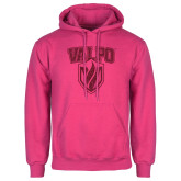 Fuchsia Fleece Hoodie-Stacked Valpo Shield Hot Pink Glitter