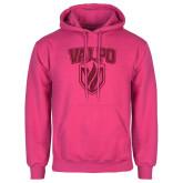 Fuchsia Fleece Hood-Stacked Valpo Shield Hot Pink Glitter