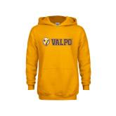 Youth Gold Fleece Hoodie-Flat Valpo Shield
