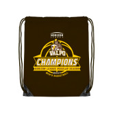 Brown Drawstring Backpack-2017 Mens Basketball Champions Basketball Ribbon