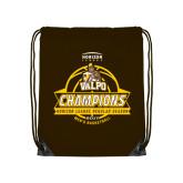 Brown Drawstring Backpack-2017 Mens Basketball Champions Basketball Ribbon