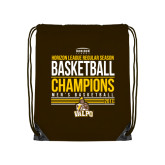 Brown Drawstring Backpack-2017 Mens Basketball Champions Stacked