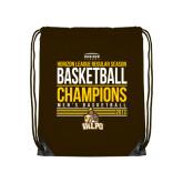 Brown Drawstring Backpack-2017 Mens Basketball Champions Stacked