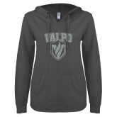 ENZA Ladies Dark Heather V Notch Raw Edge Fleece Hoodie-Stacked Valpo Shield Silver Soft Glitter