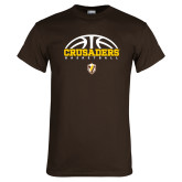 Brown T Shirt-Arched Basketball Design
