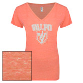ENZA Ladies Coral Melange V Neck Tee-Stacked Valpo Shield White Soft Glitter