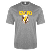 Performance Grey Heather Contender Tee-Stacked Valpo Shield