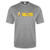 Performance Grey Heather Contender Tee-Flat Valpo Shield