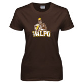 Ladies Brown T Shirt-Official Logo Distressed