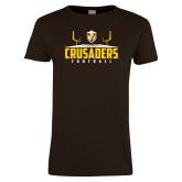 Ladies Brown T Shirt-Football Field Design