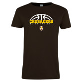 Ladies Brown T Shirt-Arched Basketball Design