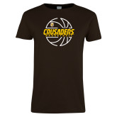 Ladies Brown T Shirt-Basketball Outline Design