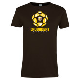 Ladies Brown T Shirt-Soccer Design