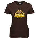 Ladies Brown T Shirt-2017 Mens Basketball Champions Basketball Ribbon