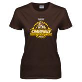 Ladies Brown T Shirt-2017 Mens Basketball Champions Basketball Ribbon