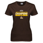 Ladies Brown T Shirt-2017 Mens Basketball Champions