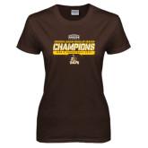 Ladies Brown T Shirt-2017 Mens Basketball Champions