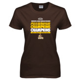 Ladies Brown T Shirt-2017 Mens Basketball Champions Repeating