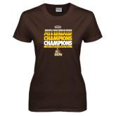 Ladies Brown T Shirt-2017 Mens Basketball Champions Repeating