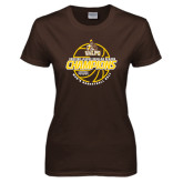Ladies Brown T Shirt-2017 Mens Basketball Champions Basketball