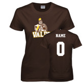 Ladies Brown T Shirt-Official Logo, Custom Tee w/ Name and #
