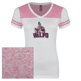 Ladies White/Bright Pink Juniors Varsity V Neck Tee-Official Logo Foil