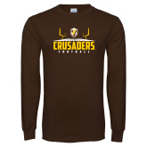 Brown Long Sleeve TShirt-Football Field Design
