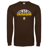 Brown Long Sleeve TShirt-Arched Basketball Design