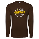 Brown Long Sleeve TShirt-Basketball Outline Design