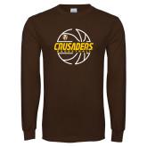 Brown Long Sleeve TShirt-Basketball Outline Design