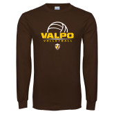 Brown Long Sleeve TShirt-Stacked Volleyball Design