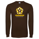 Brown Long Sleeve TShirt-Soccer Design