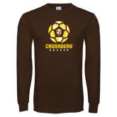 Brown Long Sleeve TShirt-Soccer Design