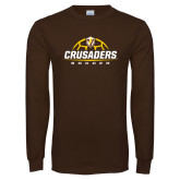 Brown Long Sleeve TShirt-Stacked Soccer Design