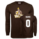 Brown Long Sleeve TShirt-Official Logo, Custom Tee w/ Name and #
