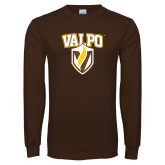 Brown Long Sleeve TShirt-Stacked Valpo Shield