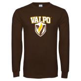 Brown Long Sleeve TShirt-Stacked Valpo Shield