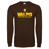 Brown Long Sleeve TShirt-Stacked Valpo Design