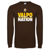 Brown Long Sleeve TShirt-Valpo Nation