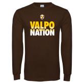 Brown Long Sleeve TShirt-Valpo Nation