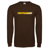 Brown Long Sleeve TShirt-#VALPOGAMEDAY