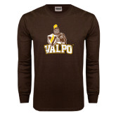 Brown Long Sleeve TShirt-Official Logo Distressed