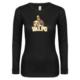 Ladies Black Long Sleeve V Neck T Shirt-Official Logo