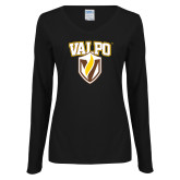 Ladies Black Long Sleeve V Neck T Shirt-Stacked Valpo Shield