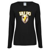 Ladies Black Long Sleeve V Neck Tee-Stacked Valpo Shield