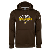 Under Armour Brown Performance Sweats Team Hoodie-Arched Basketball Design