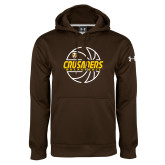 Under Armour Brown Performance Sweats Team Hoodie-Basketball Outline Design